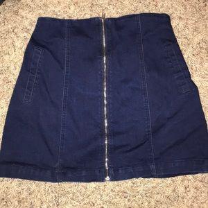 Navy Zip-up Jean Skirt